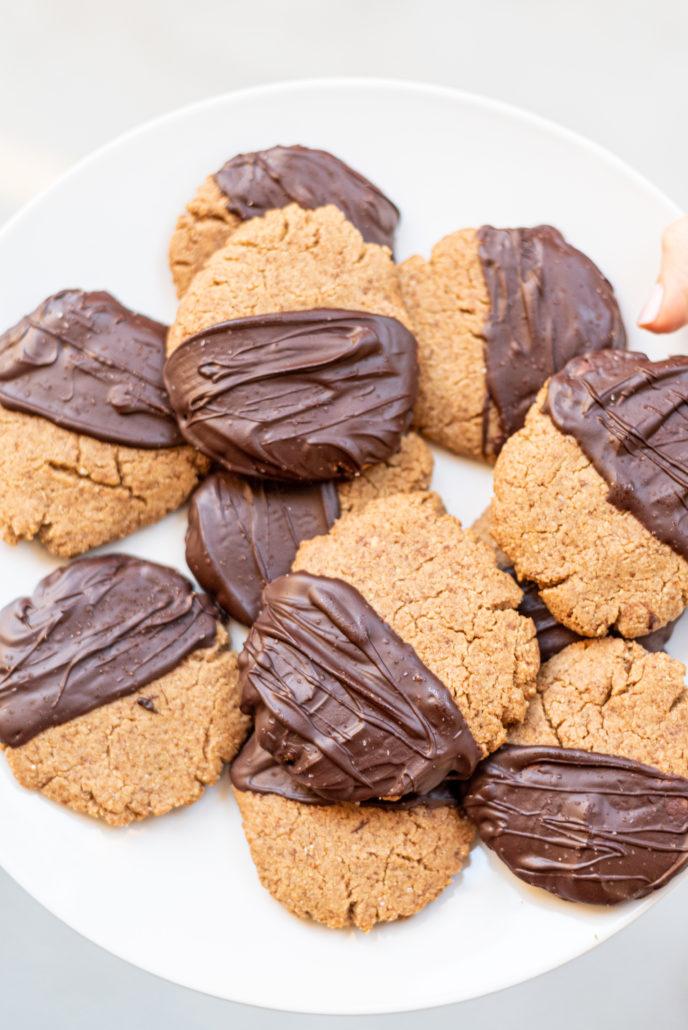 Vegan Chocolate Dipped Peanut Butter Cookies