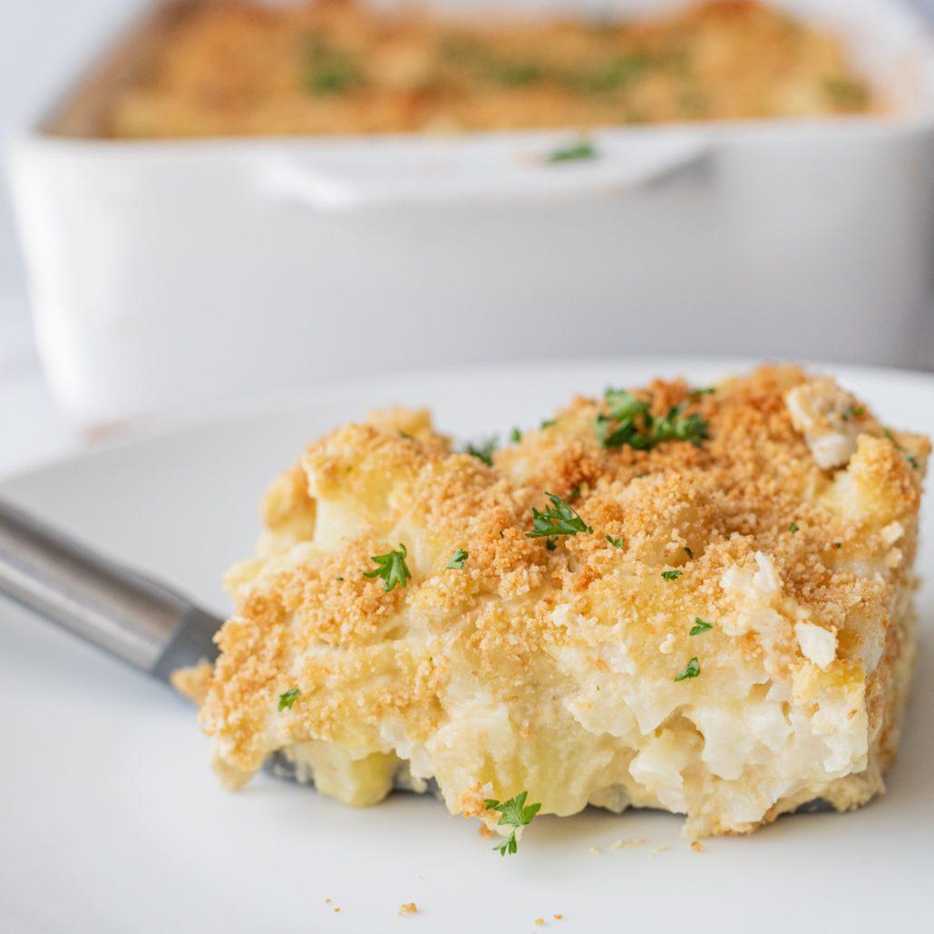 Cheesy Vegan Cauliflower Potato Casserole